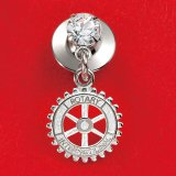 Rotary Pin with Cristal/Silver Plate
