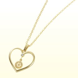 Photo1: Rotary Emblem Heart Necklace/Gold color