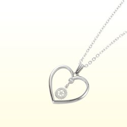 Photo1: Rotary Emblem Heart Necklace/Silver color